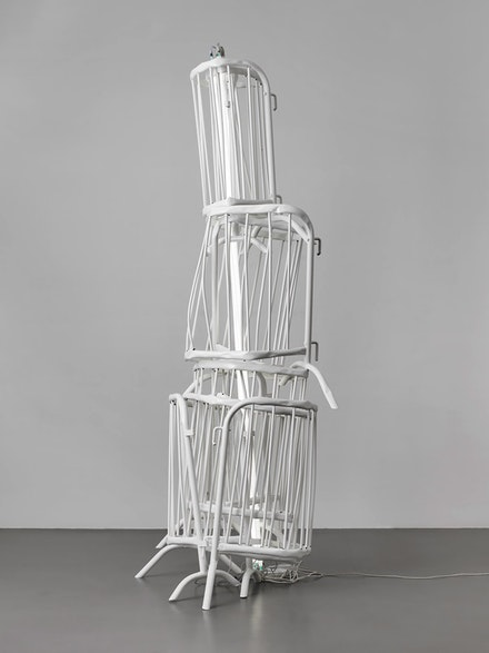 Bettina Pousttchi, <em>Double Monument for Flavin and Tatlin XIV</em>, 2014. Powder coated crowdbarriers and neon, 115 × 64 × 35 1/2 inches. Courtesy of the artist and Buchmann Galerie Berlin.