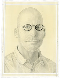 Portrait of B. Wurtz. Pencil on paper by Phong Bui. From a photo by Taylor Dafoe.