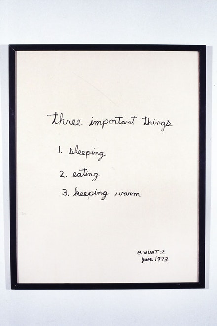 B. Wurtz, <em>Three Important Things</em>, 1973. Ink on paper. 29 1/2 x 23 3/4 inches. Courtesy Metro Pictures, New York.