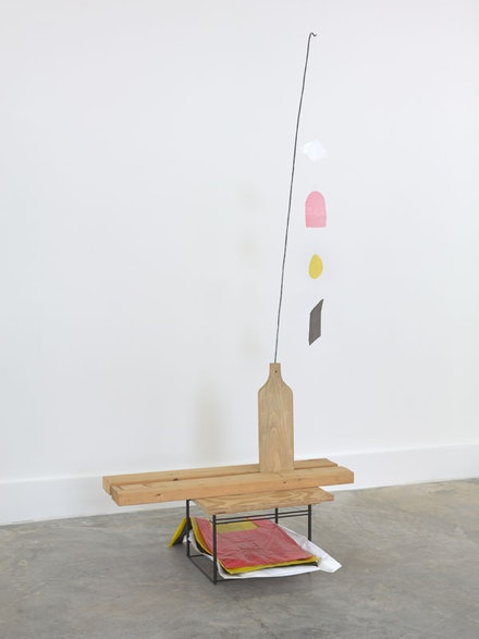 B. Wurtz, <em>Untitled</em>, 1997. Wood, wire, metal, plastic bags. 67 x 30 x 21 inches. Courtesy Metro Pictures, New York.