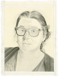 Portrait of Joanne Greenbaum. Pencil on paper by Phong Bui. From a photo by Zack Garlitos.