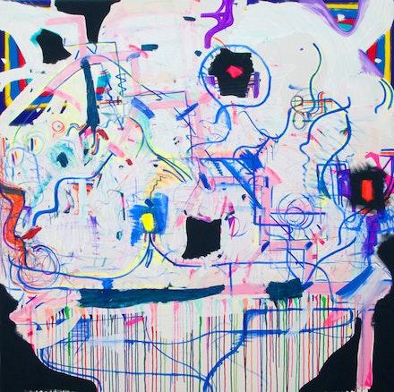 Joanne Greenbaum, <em>Untitled</em>, 2016. Oil, acrylic, flashe, ink, marker on canvas. 82 x 80 inches. Courtesy the artist and Rachel Uffner Gallery.