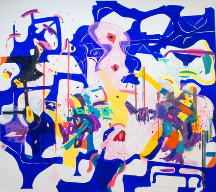 Joanne Greenbaum, <em>Untitled</em>, 2016. Oil, acrylic, flashe, ink, oil crayon, and marker on canvas. 145 x 135 inches. Courtesy the artist and Rachel Uffner Gallery.
