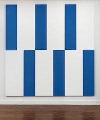 Carmen Herrera, <em>Blue and White (triptych)</em>, 2014. Acrylic on canvas. 84 x 84 inches. (84 x 28 inches each). © Carmen Herrera. Courtesy Lisson Gallery.