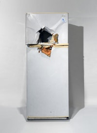 Rodney McMillian, <em>Untitled (refrigerator)</em>, 2009. Refrigerator, 64 x 29 x 25 inches. Collection of the Orange County Museum of Art, Newport Beach CA; gift of Rosana and Jacques Seguin Collection, Switzerland. Photo courtesy the Orange County Museum of Art and Bliss Photography.