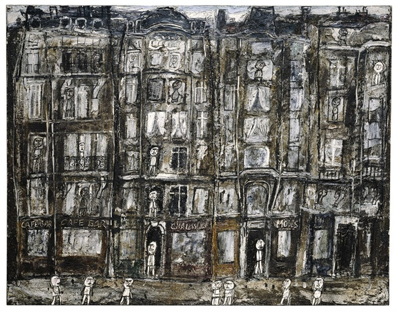 Jean Dubuffet, <em>Façades d'immeubles [Apartment Houses, Paris]</em>, July 1946. Oil with sand and charcoal on canvas. 44 7/8 x 57 3/8 inches. The Metropolitan Museum of Art, New York; Bequest of Florene M. Schoenborn, 1995 (1996.403.15). Image copyright © The Metropolitan Museum of Art. Image source: Art Resource, NY / Art © 2016 Artists Rights Society (ARS), New York / ADAGP, Paris.