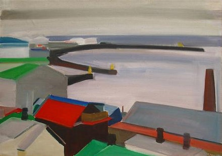 Louisa Matthíasdóttir, <em>Reykjavik Harbor</em>, 1987. Oil on canvas. 19 x 27 inches. Courtesy Tibor de Nagy Gallery.
