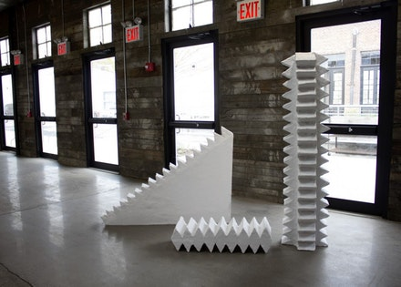 Anna Mikhailovskaia, <em>Bubba&#146;s Ghost</em>, 2012. Plaster and wood. 96 x 72 x 72 inches. Courtesy Knockdown Center.