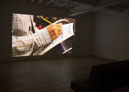 Installation view: <i>Moyra Davey: 7 Albums</i> at Murray Guy, showing <i>Notes on Blue</i> (2015), HD video with sound, 28 minutes. Courtesy the artist and Murray Guy, New York.