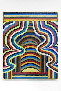 Matt Kleberg, <i>LL Bean Boudoir</i> (2016). Oil stick on canvas, 60 x 48 inches. Courtesy the artist, Mulherin New York, and Morgan Lehman Gallery.