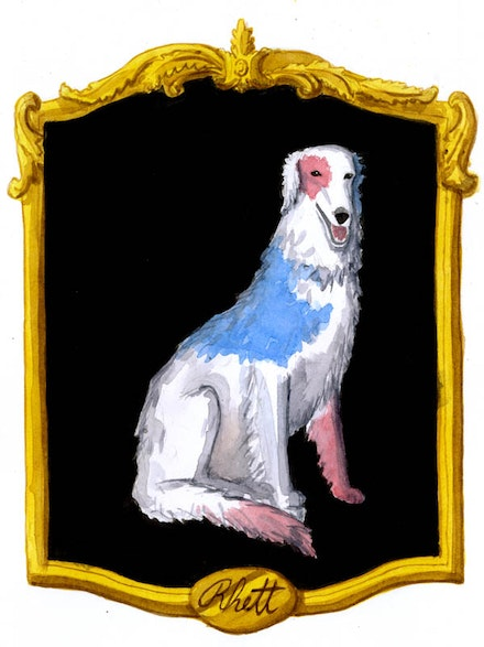"""A red, white, and blue borzoi named Rhett."" Illustration by Megan Piontkowski."