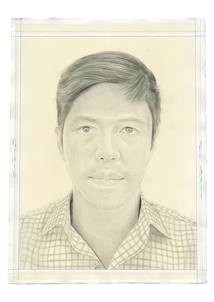 Portrait of John Tain. Pencil on paper by Phong Bui. From a photo courtesy John Tain.