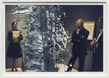 Gerhard Richter, <i>14. März 2015</i>, 2015. Oil on color photograph. 4 15/16 x 7 5/16 inches. Courtesy Marian Goodman Gallery.