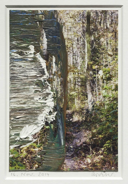 Gerhard Richter, <i>16. Nov. 2014</i>, 2014. Oil on color photograph. 6 11/16 x 4 7/16 inches. Courtesy Marian Goodman Gallery.