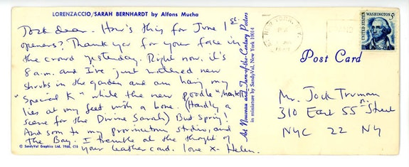 Postcard from Helen Frankenthaler to Jock Truman, June 1, 1967. Helen Frankenthaler papers, Helen Frankenthaler Foundation Archives, New York. Postcard text by Helen Frankenthaler © 2016 Helen Frankenthaler Foundation, Inc.
