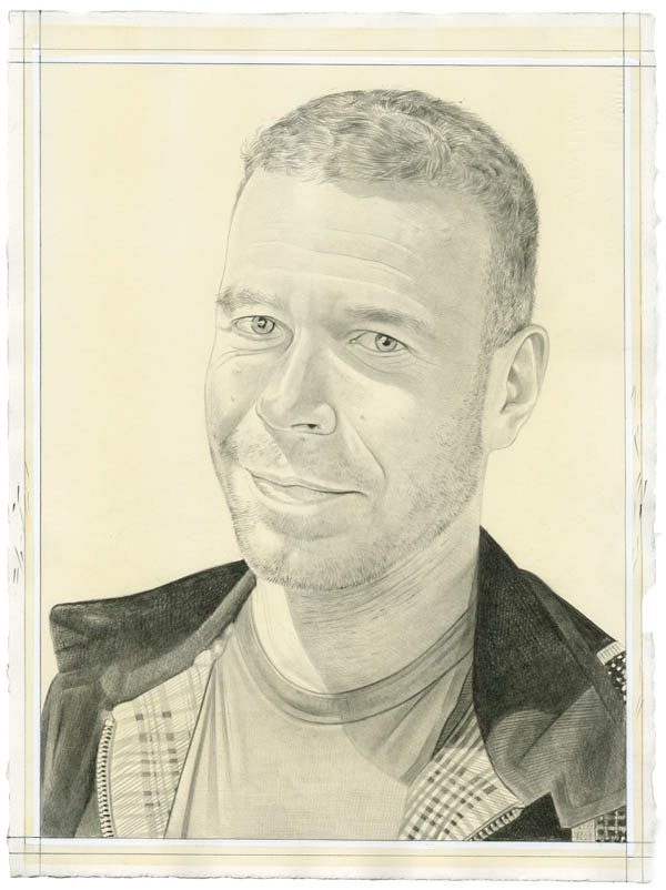 Portrait of Wolfgang Tillmans. Pencil on paper by Phong Bui. From a photo courtesy Wolfgang Tillmans Studio.