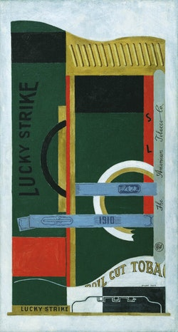 Stuart Davis, <i>Lucky Strike</i>, 1921. Oil on canvas. 33 1/4 x 18 inches. Courtesy The Museum of Modern Art, New York; gift of the American Tobacco Company, Inc., 1951. &copy;Estate of Stuart Davis / Licensed by VAGA, New York, NY.