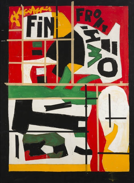 Stuart Davis, <i>Fin</i>, 1962-64. Casein and masking tape on canvas. 53 7/8 x 39 3/4 inches. Private collection. ©Estate of Stuart Davis / Licensed by VAGA, New York, NY.