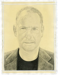 Portrait of Luc Tuymans. Pencil on paper by Phong Bui. From a photo by Scott Rudd.