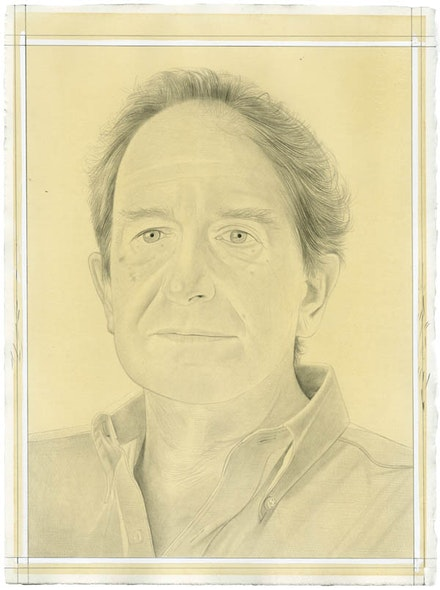 Portrait of Leo Rubinfien. Pencil on paper by Phong Bui. From a photo by Zack Garlitos.