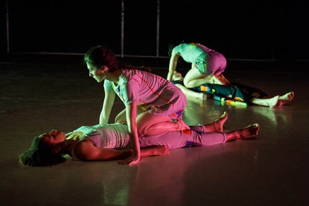 Anna Sperber&#146;s <em>Prize</em>; Dancers in foreground: Lizzie Feidelson perched on Tara Willis. In background: Emma Judkins beneath Rebecca Warner. Photo: Ian Douglas.