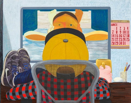 Nicole Eisenman, <em>Long Distance</em>, 2015. Oil on canvas. 65 × 82 inches. Courtesy the artist and Anton Kern Gallery, New York. © Nicole Eisenman.