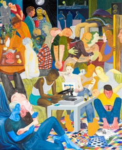 Nicole Eisenman, <i>Another Green World</i>, 2015. Oil on canvas. 128 x 106 inches. Courtesy the artist and Anton Kern Gallery, New York. &copy;  Nicole Eisenman.