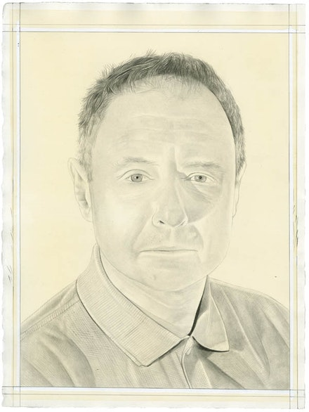 Portrait of Jonathan Lasker. Pencil on paper by Phong Bui. From a photo by Zack Garlitos.