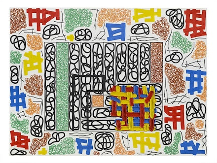 Jonathan Lasker, <em>The Universal Frame of Reference</em>, 2014. Oil on linen. 90 × 120 inches. Courtesy Cheim & Read.