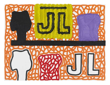 Jonathan Lasker, <em>Repetitive Identity</em>, 2015. Oil on canvasboard. 12 × 16 inches. Courtesy Cheim & Read.