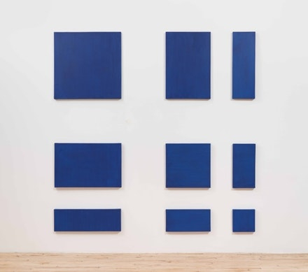 Paul Mogensen, <i>no title</i>, 1968-71. 9-part cobalt blue oil on canvas. 90 × 90 inches. Courtesy Del Deo & Barzune.