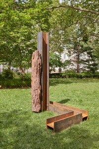 Carol Bove, <i>Lingam</i>, 2015. Petrified wood and steel. Courtesy the artist, Maccarone New York/Los Angeles and David Zwirner New York/London. Photo: Jason Wyche, Courtesy Public Art Fund, NY.