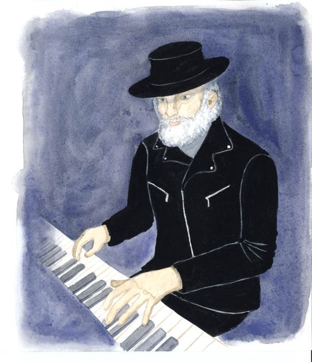 """Garth Hudson, """"all in black leather and bent out of shape."""" Illustration by Megan Piontkowski."""