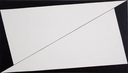 Carmen Herrera, <em>Equation</em>, 1958. Acrylic on canvas with painted frame, 24 × 42 inches. Collection of Stanley Stairs and Leslie Powell. © Carmen Herrera. Courtesy Ikon Gallery.