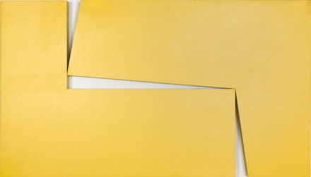 "Carmen Herrera, <em>Amarillo ""Dos""</em>, 1971. Acrylic on wood, 40 x 70 x 3 1/4 inches. Private collection. © Carmen Herrera."