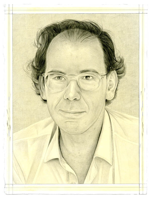 Portrait of Donatien Grau. Pencil on paper by Phong Bui. From a photo by Azzedine Alaïa.