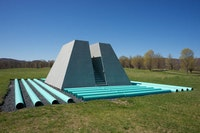 Dennis Oppenheim, <em>Dead Furrow</em>, 1967/2016. Wood surfaced with organic pigment, PVC pipe. Fabricated at Storm King Art Center. 10 x 40 x 35 feet. © Dennis Oppenheim. Photo: Jerry L. Thompson.