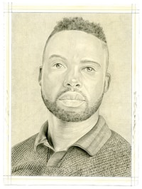 Portrait of Adam Pendleton. Pencil on paper by Phong Bui. From a photo by Taylor Dafoe.