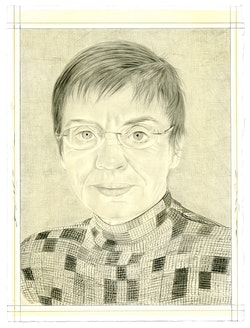 Portrait of Ariane Lopez-Huici. Pencil on paper by Phong Bui. Based on a photo by Alain Kirili.