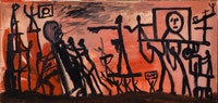 A.R. Penck, Umsturz (Coup d'Etat), 1965. Oil on canvas. 37 1/4 × 78 3/4 inches. Courtesy Michael Werner Gallery, New York; 2016 Artists Rights Society (ARS), New York.