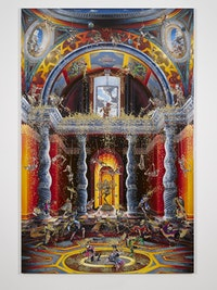 <p>Raqib Shaw, <em>The Purification of the Temple (After Venusti) II</em>, 2014 – 2015. Acrylic and enamel on birchwood, 108 1/16 x 72 1/16 inches (274.5 x 183 cm). © Raqib Shaw. Photo © White Cube (Ben Westoby)</p>