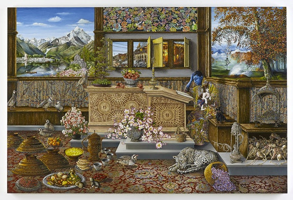 <p>Raqib Shaw, <em>Self Portrait in the Study at Peckham, after Vincenzo Catena (Kashmir version)</em>, 2015. Acrylic and enamel on birchwood, 39 3/8 x 51 3/16 inches (100 x 130 cm) © Raqib Shaw. Photo © Prudence Cuming Associates Ltd. Courtesy White Cube.</p>