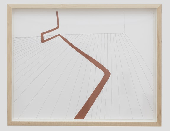 Gabriela Salazar, <em>Notional Navigational Handrail </em>, 2016. Ink and conté pencil on paper. Courtesy Efrain Lopez Gallery.