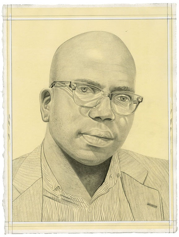 Portrait of Rich Blint. Pencil on paper by Phong Bui. From a photo by Zack Garlitos.