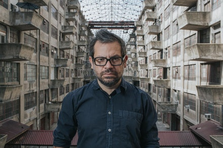 Artist Pedro Reyes at the Brooklyn Army Terminal. Photo by Will Star / Shooting Stars. Courtesy of Creative Time.