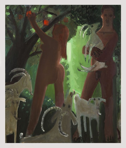 Kyle Staver, <em>Adam and Eve and the Goats</em>, 2016. Oil on canvas. 54 x 64 inches. Courtesy Kent Fine Art and Kyle Staver.