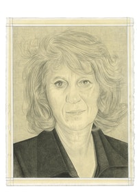 Portrait of Mierle Laderman Ukeles. Pencil on paper by Phong Bui. From a photo by Susan Egan.