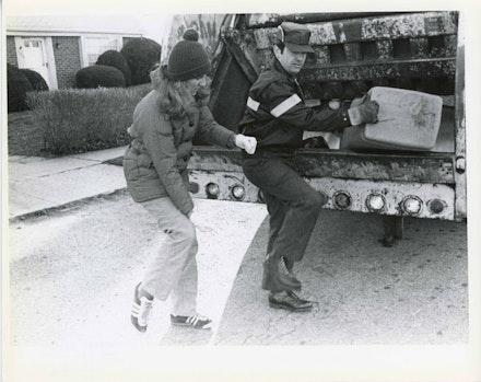 Mierle Laderman Ukeles, <em>Touch Sanitation</em>, 1979 &#150; 80. Citywide performance with 8,500 Sanitation workers across all fifty-nine New York City Sanitation districts. Courtesy Ronald Feldman Fine Arts. Photo: Marcia Bricker.
