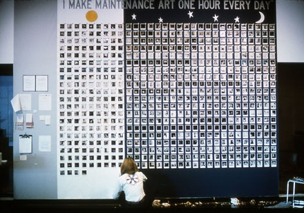 Mierle Laderman Ukeles, <em>I Make Maintenance Art One Hour Every Day</em>, September 16 – October 20, 1976. Performance with three hundred maintenance employees, day and night shifts over the course of six weeks at 55 Water Street, New York. Installation at Whitney Museum Downtown at 55 Water Street. 720 Polaroid photographs mounted on paper, printed labels, color-coded stickers, seven handwritten and typewritten texts, clipboard, and custom-made buttons, overall: 12 x 15 feet. Courtesy of Ronald Feldman Fine Arts.