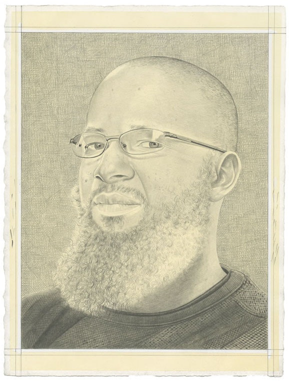 Portrait of Meleko Mokgosi. Pencil on paper by Phong Bui. From a photo courtesy the artist and Jack Shainman Gallery.